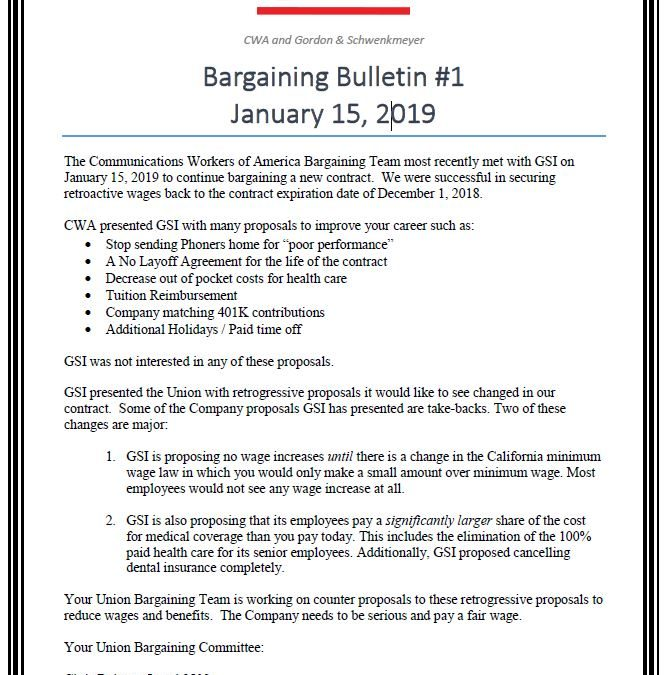 GSI Bargaining bulletin #1