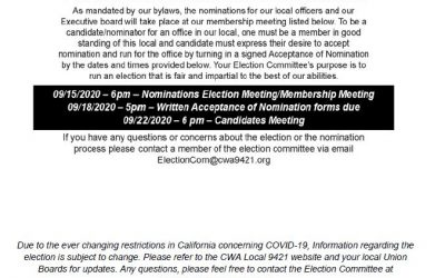 From your CWA 9421 Election Committee – Candidate Nomination addendum